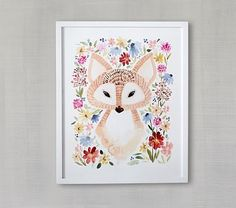Sweet Floral Fox Wall Art by Minted