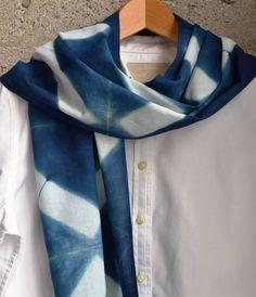 Indigo Shibori Cotton Scarf by BlueForestIndigo on Etsy