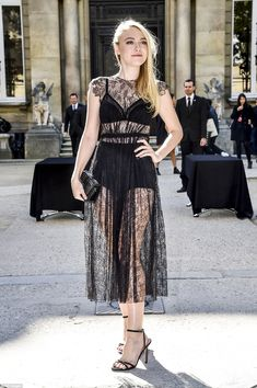 Chic:Dakota was naturally determined to stand out from the crowd as she slipped into a super sexy sheer lace which flashed the entirety of her lingerie beneath