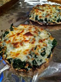 Cheesy Spinach Stuffed Portobello Mushrooms.. Made with Dayia cheese, it would be vegan friendly!!