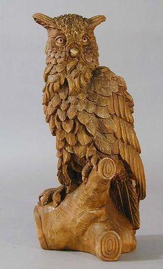 antique black forest carved owl statue