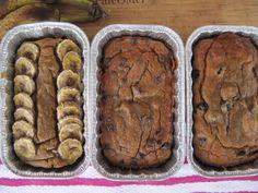 paleo, nut-free banana bread w/ ripe bananas, medjool dates, eggs, coconut butter, coconut flour, vanilla, baking soda, baking powder, cinnamon & opt. sliced bananas, dark chocolate chips or dried strawberries & blueberries