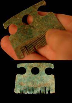 Viking 'Bull's Eye' Comb. Viking 'Bull's Eye' Comb. Copper alloy, 9.07 grams. Circa 800 - 1000 A.D. Beautiful Viking comb, on one side is a wonderful ring and dot/bull's eye decorated. Above is a handle formed by three circles, the two either side broken to correspond with contours of the piece. Very Fine condition. Found Lake Ladoga. SOLD