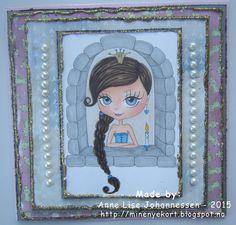 Mine Prosjekter: Princess in castle Digital Stamps, Homemade Cards, Paper Crafting, Card Making, Castle, Princess, Create, Anime, Handmade