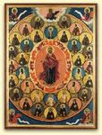 This painting of Christian iconic figures is intriguing because it is reminiscent of the mandala style of Buddhist paintings Orthodox Christianity, The Monks, Orthodox Icons, Lost & Found, Jesus Christ, Mandala, Faith, Culture, 21st Century