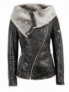 Ash – Arnelle, womens shearling lined cracked black leather biker jacket with a distressed vintage finish. The leather jacket features an asymmetric zip front, draped shearling collar, two pockets, single sleeve zip and zipped cuffs. Other details include Vogue Fashion, Look Fashion, Winter Fashion, Womens Fashion, Fashion Black, Fashion Clothes, Leather Fashion, Fashion Site, Fashion Online