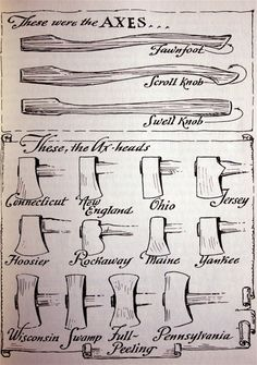 This is abut axe handles and axe heads for self reliance Antique Tools, Old Tools, Vintage Tools, Beil, Axe Handle, La Forge, Axe Head, Woodworking Hand Tools, Woodworking Shop
