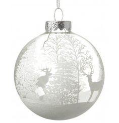 View Winter Glass Bauble, 9cm Details