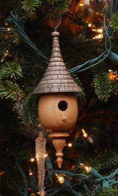 A wood turned Christmas. Mini Birdhouse Ornament