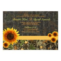 Camo Sunflowers Camouflage Country Rustic Invite Wedding Invitation Announcement Cards  #wedding #camo