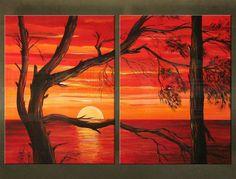 Ručne maľovaný obraz STROM 2 dielny 1987FA