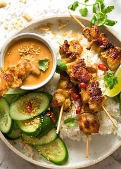 Recipe video above. Thai Chicken Satay Skewers are tasty enough to eat plain but we'd never skip Thai Peanut Sauce for dipping! The essential ingredient for a really great peanut sauce is natural… Chicken Satay Skewers, Thai Chicken Satay, Chicken Satay Marinade, Marinade Sauce, Asian Chicken, Chicken Wraps, Marinated Chicken, Asian Recipes, Healthy Recipes
