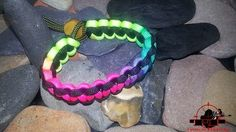 Paracord Bracelet - Rainbow Neon and Black | Paracord Jewellery & Gadgets Hunting Outdoors