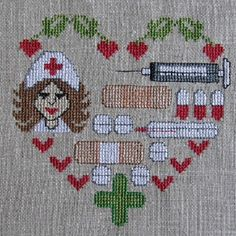 0 point de croix coeur infirmière - cross stitch nurse heart Cross Stitch Heart, Cross Stitch Cards, Cross Stitching, Cross Stitch Embroidery, Cross Stitch Designs, Cross Stitch Patterns, Nurse Crafts, Needlepoint Patterns, Vintage Embroidery