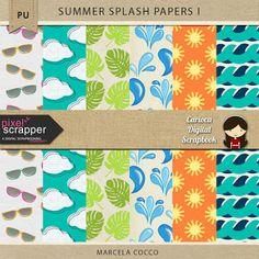 FREE Summer Splash Papers 1 by Carioca Digital Scrapbook: Pixel Scrapper July…