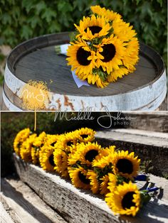 This is what I picture for my sunflowers but with Baby's Breath added.  Sunflower wedding bouquets