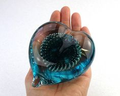 Teal Green Glass Heart Paperweight Home Décor Valentine