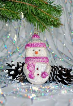 Snowman christmas ornament Holiday decor by HomemadeCraftIdeas