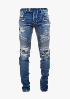 What is Ripped Jeans ?, Ripped Jeans is a trend that has gained popularity from the where it was originally known as distressed jeans. Until now this trend is still developing and quite a lot… Biker Jeans Men, Denim Jeans Men, Cut Jeans, Jeans Pants, Trousers, Balmain Jeans, Denim Shop, Mens Destroyed Jeans, Slim Fit Ripped Jeans