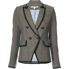 Veronica Beard tweed fitted blazer (1.970 BRL) via Polyvore featuring outerwear, jackets, blazers, brown, wool tweed blazer, tweed jacket, brown blazer jacket, veronica beard jacket e veronica beard