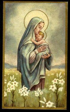 Virgin Mary Child Jesus Vintage Holy Card | eBay