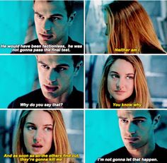 In the last one he becomes determined. He cannot let her die. He said it himself, she is the reason he stayed in Dauntless.