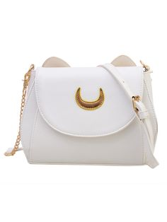 Shop Crescent Patch Flap Bag With Cat Ears - White online. SheIn offers Crescent…