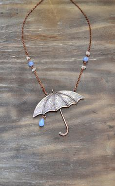 Hey, I found this really awesome Etsy listing at https://www.etsy.com/listing/461710986/copper-pendant-umbrella-raindrops-blue