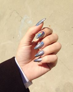 trendy nail art designs for new year 2020 - Styles Art Chic Nails, Stylish Nails, Perfect Nails, Gorgeous Nails, Uñas Fashion, Pointed Nails, Trendy Nail Art, Silver Nails, Holographic Nails