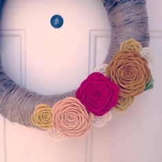 Rustic felt rose wreath by handmadecolectibles on Etsy, $50.00
