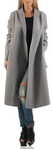 malito long Manteau Cascade-Design Cardigan Veste 3050 Femme One Size (gris clair)