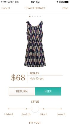 Definitely would like to find this in my next fix! Stylist, a perfect example of something I could wear to work but then dress down for evenings/weekends. Love the pattern, the straps are thick enough for my bra, a great find! ~k Pixley Nola Dress