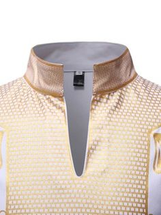 Mens Geometric Printed Button Shirts Short Sleeve Smooth Turn Down Collar Contrast Color Regular Tees YANG-YI Sale