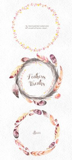 Feathers Wreaths Clipart. 3 Hand painted by OctopusArtis on Etsy