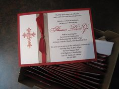 Red and Silver Baptism Invitations