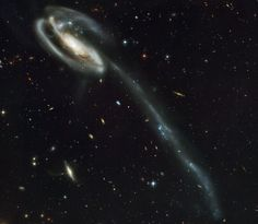 A 'wallpaper' of distant galaxies is a stunning backdrop for a runaway galaxy | ESA/Hubble
