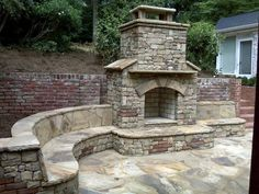 Pergola For Small Patio Outdoor Fireplace Patio, Outdoor Stone Fireplaces, Outside Fireplace, Outdoor Fireplace Designs, Fireplace Ideas, Indoor Outdoor, Outdoor Rooms, Outdoor Living, Outdoor Decor