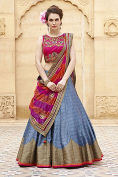 Give a royal touch to your dressing by wearing this striking pink and blue lehenga. Buy lehenga choli online - http://www.aishwaryadesignstudio.com/striking-pink-and-blue-lehenga-choli