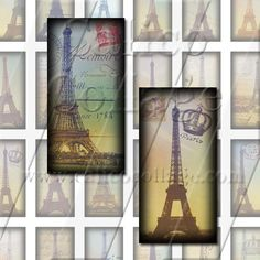Vintage Eiffel Tower  Digital Collage Sheet  1x2 by calicocollage, $3.75
