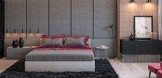 Dormitorio moderno en gris y rosa fuerte - http://www.decoora.com/dormitorio-moderno-gris-rosa-fuerte/