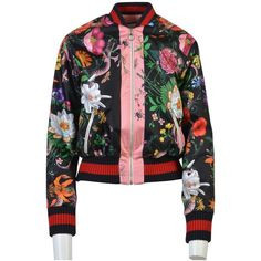 Gucci Flora Snake Silk Bomber Jacket ($1,720) ❤ liked on Polyvore featuring outerwear, jackets, multicolor, silk jacket, flight jacket, gucci, colorful jackets and bomber jacket