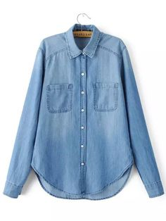 Blusa manga larga bolsillos denim-(Sheinside)