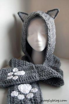 Crochet Kids Scarf, Crochet Hooded Scarf, Crochet Mittens, Crochet Scarves, Crochet For Kids, Free Crochet, Crochet Hats, Knit Cowl, Crochet Food