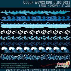 Waves Clip Art Ocean Waves Digital Clip Art by CheriesArtsnCrafts