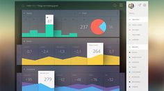 I've always liked this dashboard design because of its use of flat design while also using shadows. It is engaging.