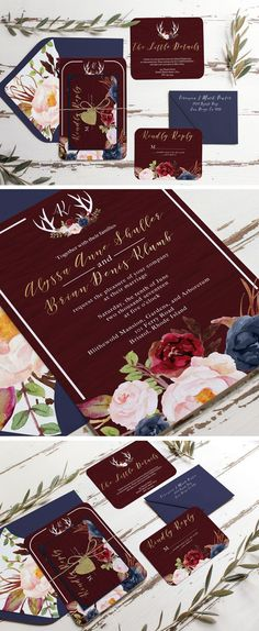 Marsala burgundy gold and navy rustic wedding invitation. Unica Forma makes custom invitations like this wood grain fall invitation. Blush merlot blue wedding invitation envelope liners and floral print!