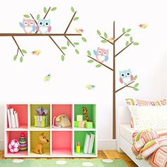 ElecMotive Wall Stickers of Tree Owls Birds Wall Decals for Kids Rooms Nursery Baby Boys  Girls Bedroom >>> You can find more details by visiting the image link.
