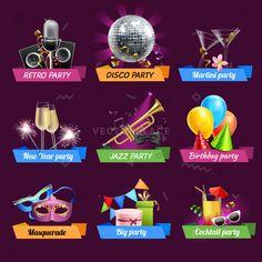 Party emblems set with retro disco jazz birthday celebrations realistic elements isolated vector illustration