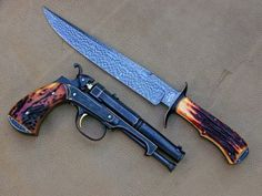 """Beautiful 5"""" .45 Caliber Muzzle Loader and Bowie Knife"""
