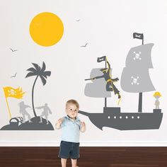 Make your kids' fantasies come true with these giant Pirates wall stickers. Simply peel and stick the colorful kids' wall decal to provoke an interest with your child and create an imaginative scene.$92.95